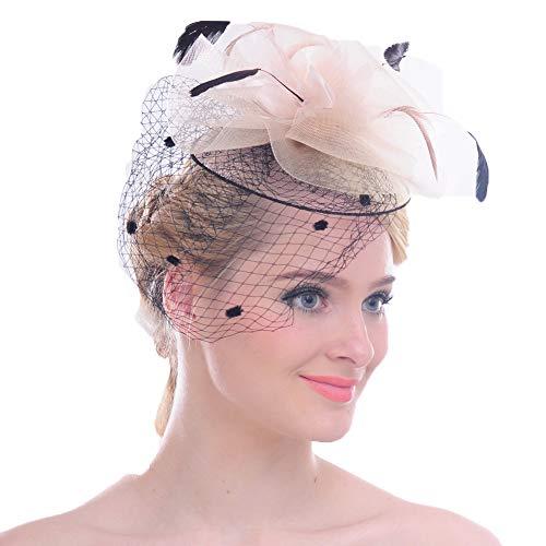 FAYBOX Elegant Silk Flower Feather Dot Net Fascinator Hat Hair Clip BlushPink -