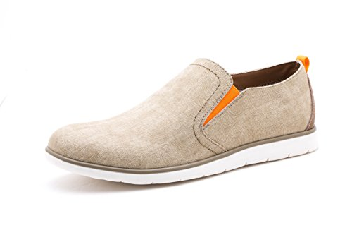 Men Shoes Casual Flat (GOLAIMAN Men's Casual Shoes Waterproof Canvas Loafers Slip on Flat Shoes Driving Walking Shoes(Beige 10))