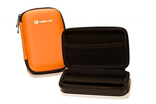 "Case4Life Orange Shockproof Splashproof External Backup Portable 2.5"" Hard Drive Case for Hitachi HGST Touro Mobile Pro, Tour Mobile MX3 500GB, 1TB - Lifetime Guarantee"