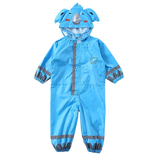 LIVACASA 3D Cute Raincoat Kids Waterproof Breathable Rainsuit All in One Puddle Suits Boys Girls Hooded Muddy Suit with Reflector Lightweight PVC Transparent Hat Brim for Kids 3-10 Years