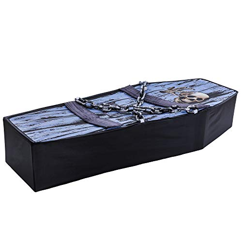 Buy Halloween Coffin Props (Halloween Haunters Realistic 5 Foot Pop-Up Gray and Black Coffin Prop Decoration - Spooky Skeleton Skull and Chains - Collapsible Fabric Wooden Casket, Sturdy Frame - Graveyard Haunted House)