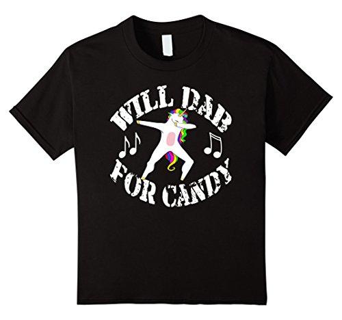 Kids Funny Halloween Costume Dab For Candy Dabbing Unicorn Shirt 4 Black