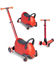 Yvolution Y Glider Luna | 5-in-1 Ride-On to Scooter with Storage Trunk | Ages 10 Months to 10 Years