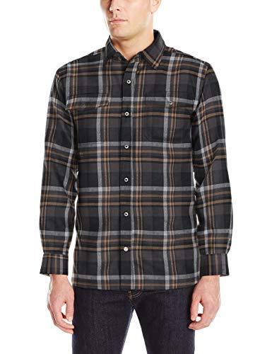 (Mountain Khakis Men's Christopher Fleece Lined Shirt, Black Plaid, Medium)