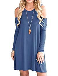 Women's Summer Cold Shoulder Tunic Top Swing T-Shirt Loose Dress With Pockets