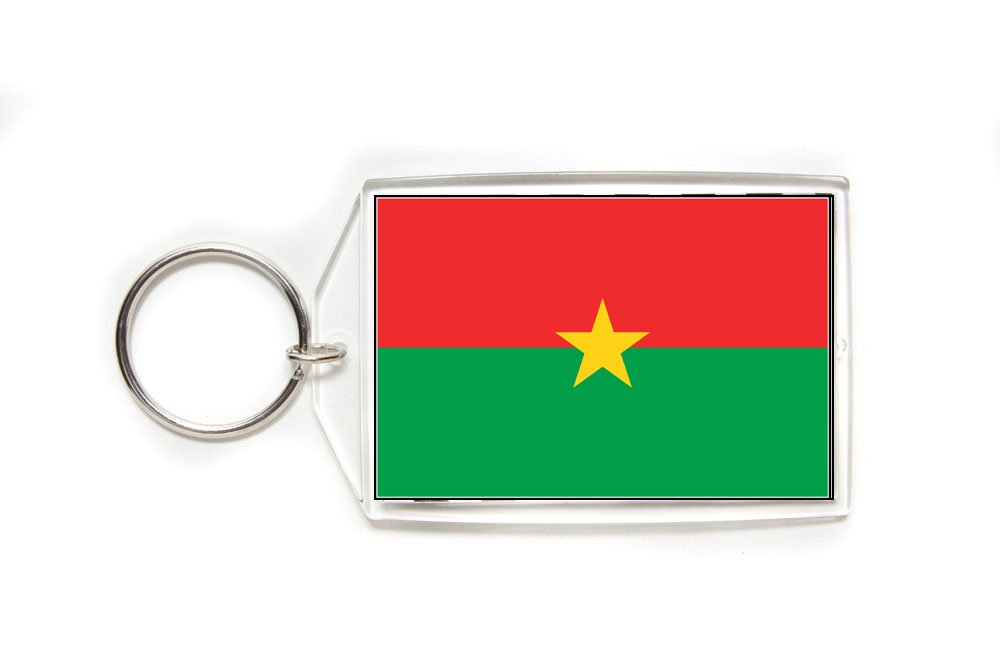 Burkina Faso Flag Double Sided Acrylic Key Ring Large