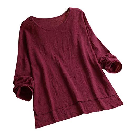 Dressin Womens T Shirt,Women Girls Vintage Embroidery Casual Short/Long Sleeve Button Linen Top T-Shirt Blouse