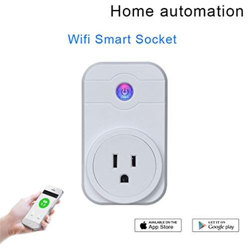 Wireless Smart Socket Plug,SUNETLINK Wifi Smart Outlet Timer Socket Compatible with Alexa & Google Home, No Hub Required,Timing Function, Remote Control by Smartphone Anywhere for Android iOS