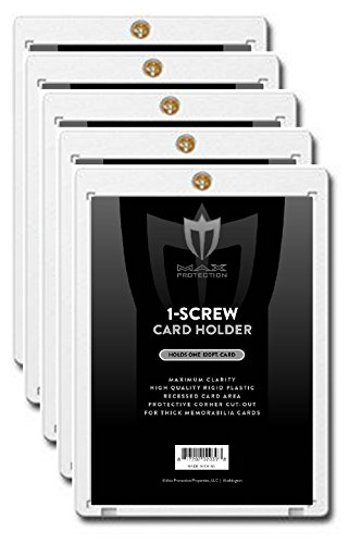 (5) Max Pro 1 Screw Card SUPER THICK Holder - 120 Pt. Jersey or Memorabilia Card Screwdown - Baseball, Football, Basketball, Hockey, Golf, Single Sports Cards Sportcards Card Collecting ()