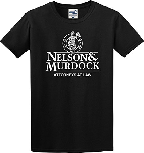 Utopia Sport Daredevil T-Shirt Nelson and Murdock Attorneys at Law Justice is Blind (Adult Large) Black
