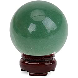 Sphere Stand - 2017 325mm Stand Natural Quartz Crystal Green Aventurine Sphere Large Round Healing Stone Ball - Wood For Crystal Light Large Display S-base Gold Metal Gemstone