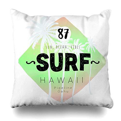 Throw Pillow Cover California Adventure Vintage Watercolor Summer Surf Nature Car 70S Aloha Beach Board Camper Design Home Decor Pillow Case Square Size 18 x 18 Inches Zippered Pillowcase ()
