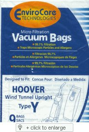 Hoover WindTunnel Upright Type Y Vacuum Bags Microfiltration with Closure and Dust Window – 9 Pack, Hoover Part # 4010100Y, Appliances for Home