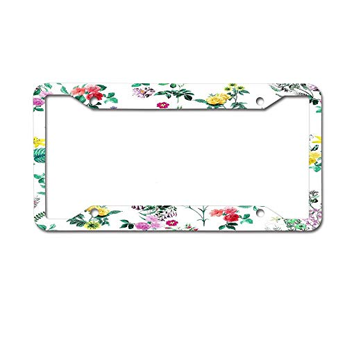(Cusomcardphone Roses Moth Orchids Lilies - Green Pink Blue Design Personalised License Plate Classic Customized Pattern Plate 4 Holes )