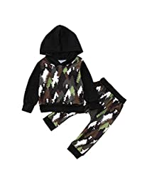 Dinlong Baby Girls Boys Clothes Camouflage Panda Forest Hooded Tops Pants Outfit