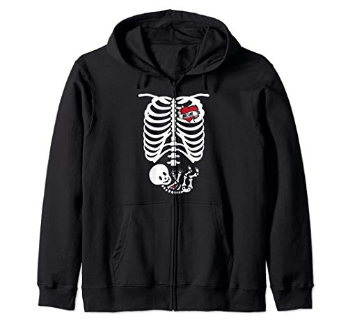 X-Ray Skeleton Pregnant Design - Halloween Mom Costume Gift Zip Hoodie -