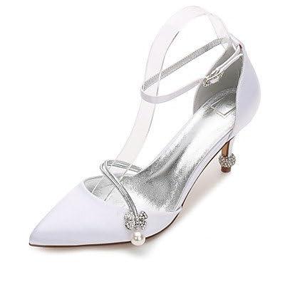 Le meilleur cadeau pour femme et mère Femme Chaussures Satin Printemps Eté Confort Mary Jane D'Orsay & Deux Pièces Escarpin Basique Bride de Cheville Chaussures de mariage , us9.5-10 / eu41 / uk7.5-8
