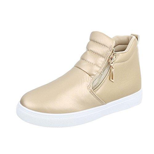 Ital-Design Sneakers High Damenschuhe Reißverschluss Freizeitschuhe Gold D16-1