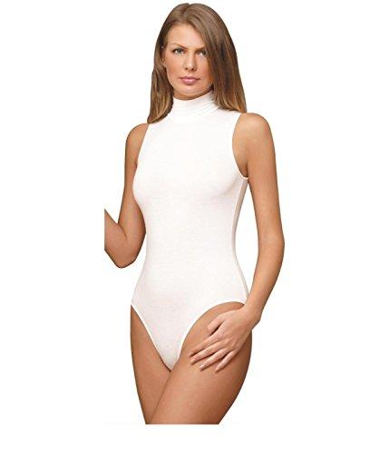 NBB Women Basic Solid Sleeveless Turtle Neck Cotton Bodysuit Lingerie