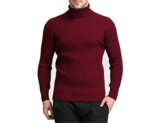 arm 100% Cashmere Sweater Men Turtleneck Sweaters Slim Fit Pullover Knitwear Double Collar Red M ()