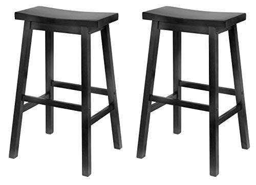 Square Seat Winsome (Winsome Wood 29-Inch Saddle Seat Bar Stool, Black (Pack of 2))