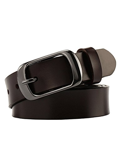 Chicwe Women's Plus Size Genuine Leather Waist Belt with Alloy Buckle Dark Brown - Alloy Careers