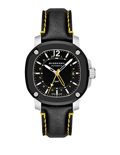 Burberry Men's Swiss Automatic GMT The Britain Black Leather Strap Watch 43mm BBY1350