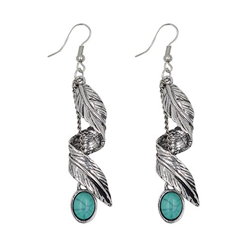 Turquoise Earrings Silver Plated Retro Synthetic And Pendant Necklace Earrings Bracelet Jewelry Set (Leaves feathers) (Earrings Plated Setting Silver Stone)