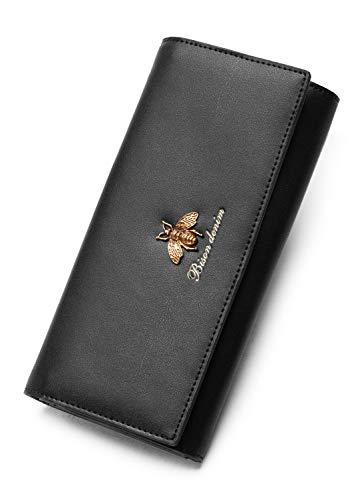BISON DENIM Long Wallet Genuine Leather Billfold for Women Credit Card Wallet Large Checkbook Wallet Bee Design