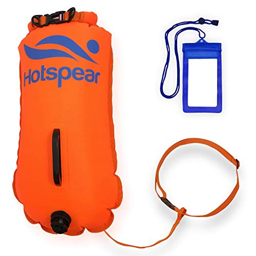 Hotspear Swim Buoy Dry Bag for Open Water Swimmers and Triathletes Swimming Tow Float Durable Nylon (Orange - Triple Air Chanber)