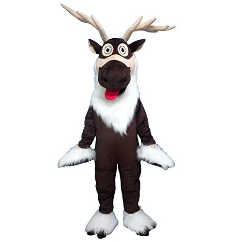 David's Deer Mascot Costume Elk Cartoon Reindeer Character Cosplay Party Fancy Dress Adult Outfit (One Size ()