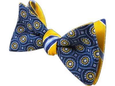 The Tie Bar 100% Silk Navy and Gold Looped Clinton Reversible Self-Tie Bow Tie ()