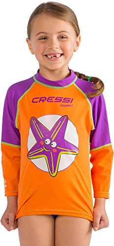 Cressi Pequeno Rash Guard Girl, Starfish, M (4T-5T)