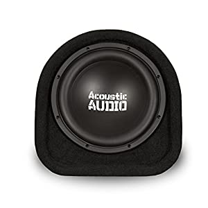 """Acoustic Audio by Goldwood ACA10T Powered Amplified 10"""" Car Subwoofer 800W with Wiring Kit and Remote Level Control, Black"""