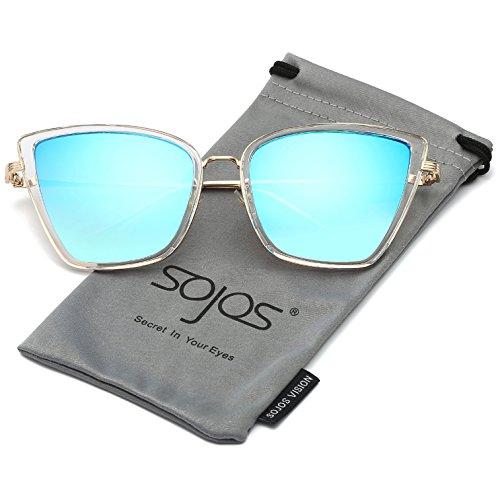 Or Chat Cadre Œil de Lunettes Femme Bleu Transparent Lentille de Moderne Métal Miroité SOJOS pour C3 Soleil Rétro SJ1081 6Apnq