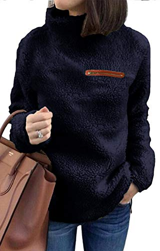 KISSMODA Womens Long Sleeve Zip Sweatshirt Fleece Pullover Outwear Coat(S-XL) Navy Blue Small -