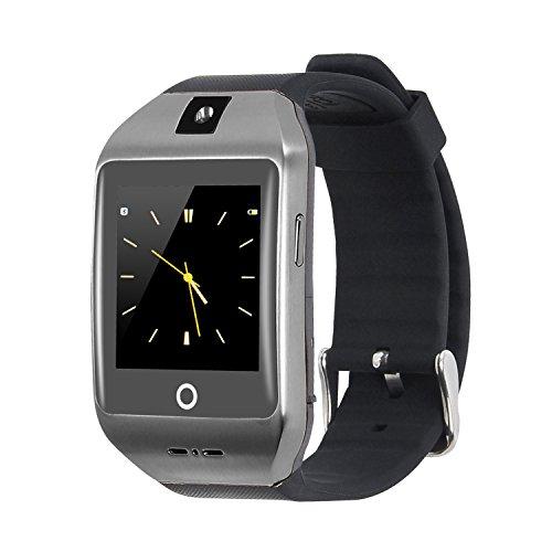 VOSMEP Smartwatch Uhr Telefon mit Bluetooth 4.0 Smart Armbanduhr Verpackungs Telefon Sport Armband mit Kamera Screen Ultra weiches Bügel für Apple / iOS, Samsung / Android, HTC Xiaomi Huawei, Unterstützt SMI / TF Smartphones Schwarz SM24