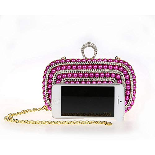 de Mano de de Bolso Clutch Red Color Bolso del Crystal del Xiaoqin Purse Bordado Womne's del de Lentejuelas Bolso Noche Baile de Party Cuentas Fin bols Bolso Curso Wedding Purple Cocktail de xSxHXFf