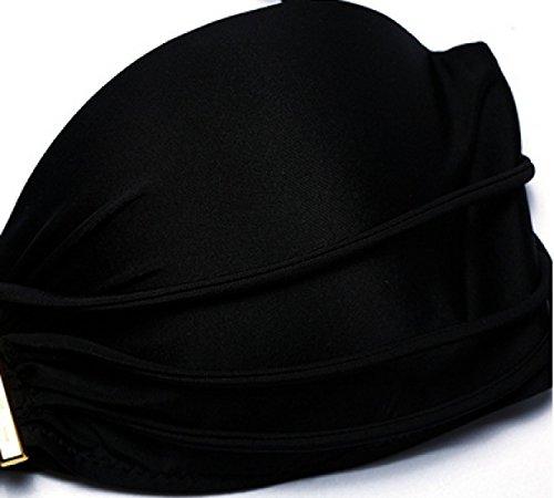 KUWOMINI. Cintura Baja Leopardo Pura Banda De Unión De Baja Línea De La Cintura Negro Se Reúnen Gran Dama Del Bikini Taza Black