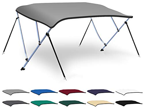 XGEAR 3-4 Bow Bimini Top Boat Cover with 4 Straps, Mounting Hardwares and Storage Boot, Full Size in Color Grey, Pacific, Navy, Black, Beige, Green, White (Light Grey, 3 Bow: 6'L x 46