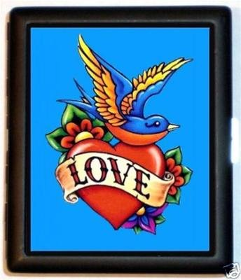 Love Cigarette Case - LoveBirds Valentine Tattoo Heart Cigarette or ID Case