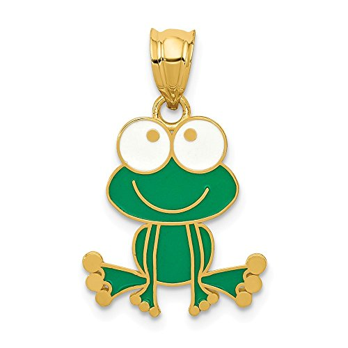 14k Yellow Gold Green White Enameled Frog Necklace Pendant Charm Animal Fine Jewelry Gifts For Women For Her