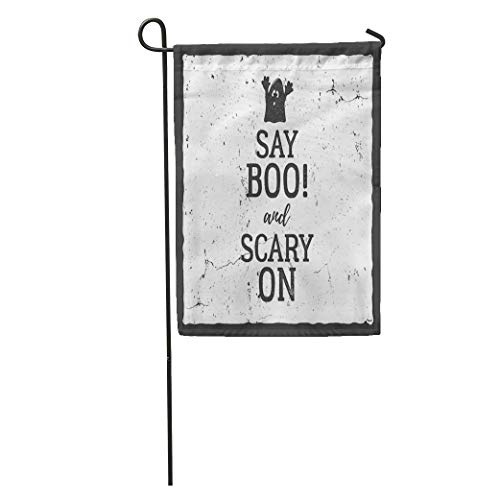 YhouqukehTshirt Garden Flag Halloween Label Text Say Boo and Scary on Retro Effect Home Yard House Decor Barnner Outdoor Stand 12x18 Inches Flag -