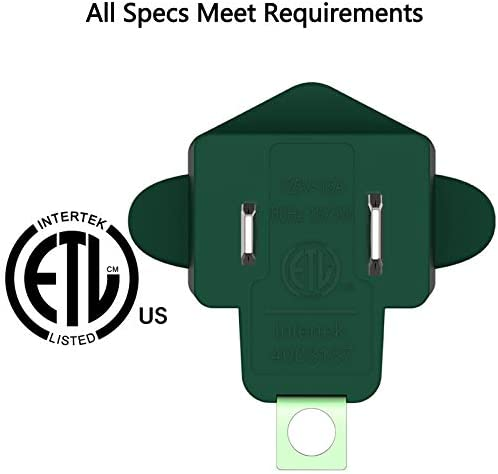 3 Prong to 2 Prong Grounding Adapter Wall Outlet Converter, JACKYLED 2 Prong Power Adapter Fireproof Material 200℃ Resistant Heavy Duty for Household, Electrical, Indoor Use Only, Dark Green, 10 Pack    Product Description