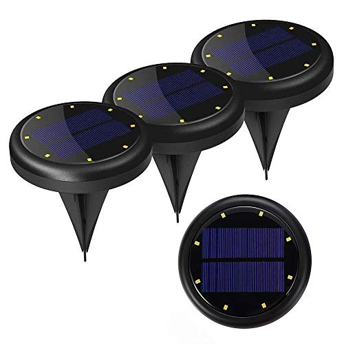 VINTAR 4-Packs Disk Lights, LED Solar Ground Lights, in-Ground Waterproof Lights with 8 Cool White LEDs for Garden Pathway Yard, Driveway, Lawn.