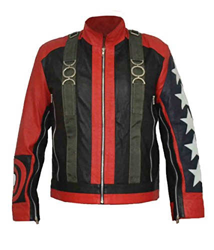 Sleeves Stylish Black 5XL Faux HLS Red XXS Stars Bono 5 Leather U2 on Jacket qxOYxRX