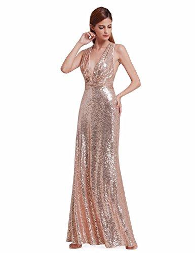 Ever-Pretty Womens Sexy V Neck Long Sequins Evening Dress 14 US Rose Gold