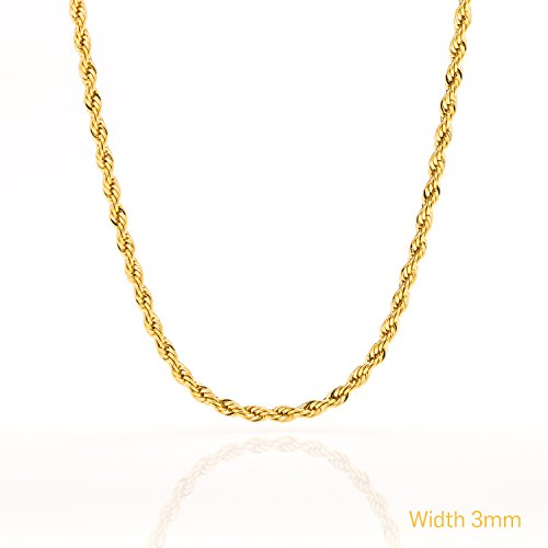 [Rope Chain - 3MM, 24K Gold Filled Necklace, Tarnish-Resistant, Looks and Feels Solid, Comes in a Box, by Lifetime Jewelry, 20] (Hip Hop Group Costumes)