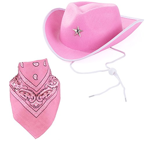 Quality Child Cowboy Costume Hat WithFREE Cotton Paisley Bandanna - Funny Party Hats TM (Pink Star Cowgirl Hat with Pink Paisley Bandana)]()