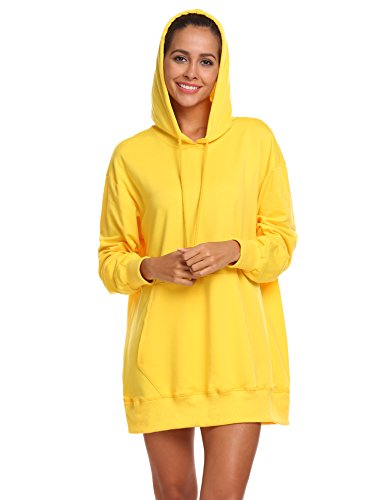 BEAUTYTALK Womens Crew Neck Long Sleeve Pullover Kangaroo Pockets Sweatshirt Hoodie Top (Yellow, (Second Best Hoodie Sweatshirt)